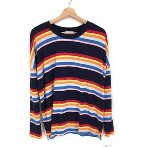 NEW Style & Co crewneck top Sweater colorful rainbow soft Blue Stripe L women's